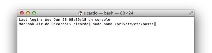 linha de comando para abrir ficheiro hosts